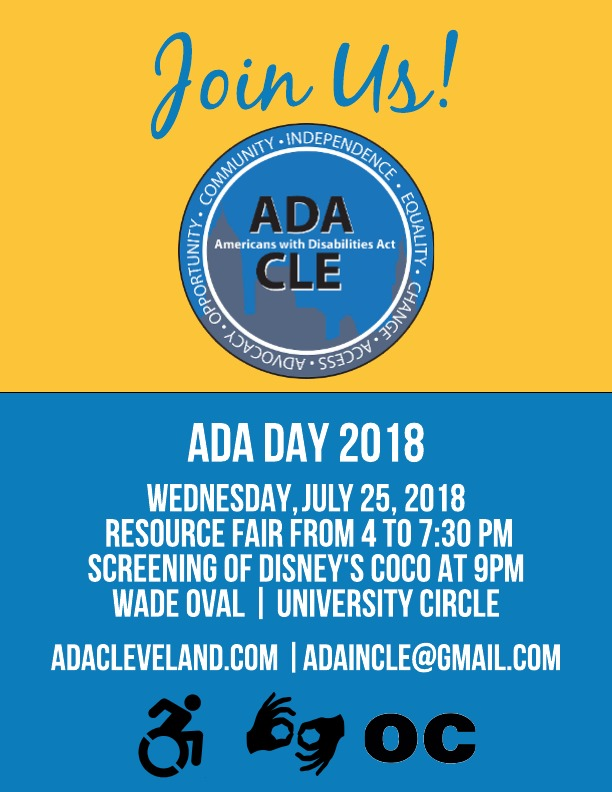 Join us for ADA Day on July 25 at 4:00 pm at Wade Oval.